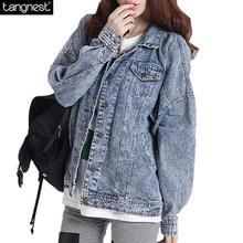 TANGNEST Waterwashed Denim Jacket 2017 New Women Turn-down Collar Full Sleeve Vintage Jeans Coat Casual Jeans Jackets WWJ351