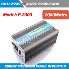 P-2000 2KW/2000 W (Peak 4000 w) solar Power Inverter 12 V/24 V/48 V/60 V/72 V DC to 220-240 V AC Wave Converter(China)