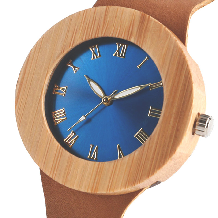 Creative Bamboo Blue Green Wooden Watch Dial Genuine Leather Casual Lovers Women Roman Number Quartz Wristwatch Relojes (9)