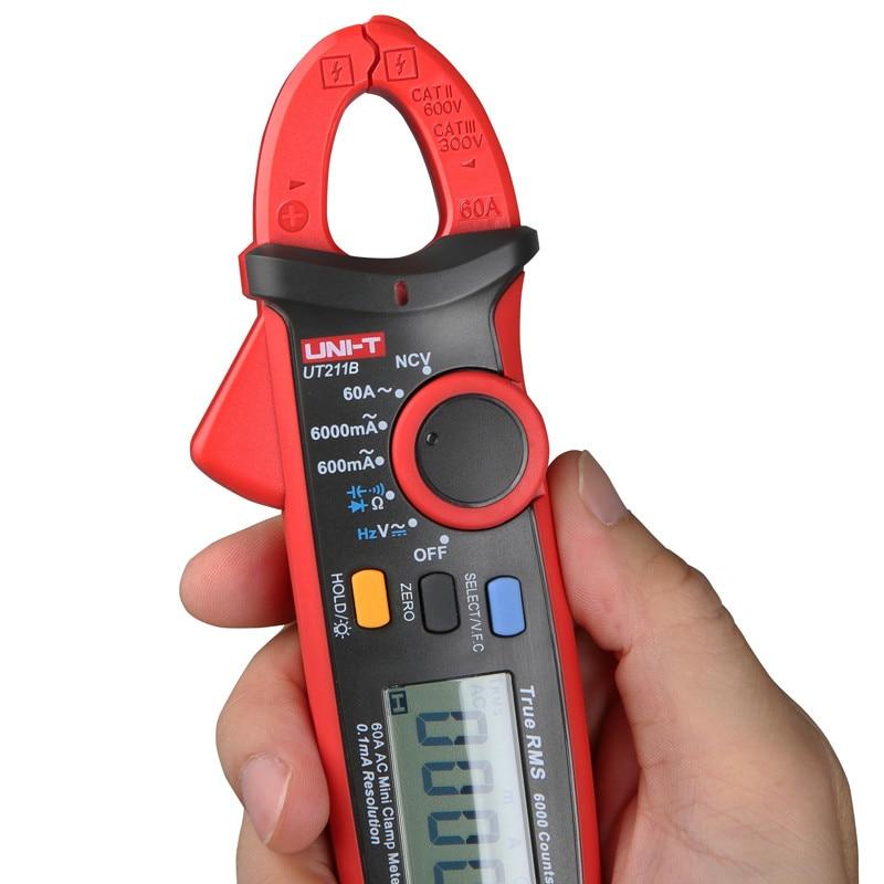 UNI T UT211B 60A Mini Clamp Meter; vero RMS amperometro/VFC/NCV misura, LCD retroilluminato - 3
