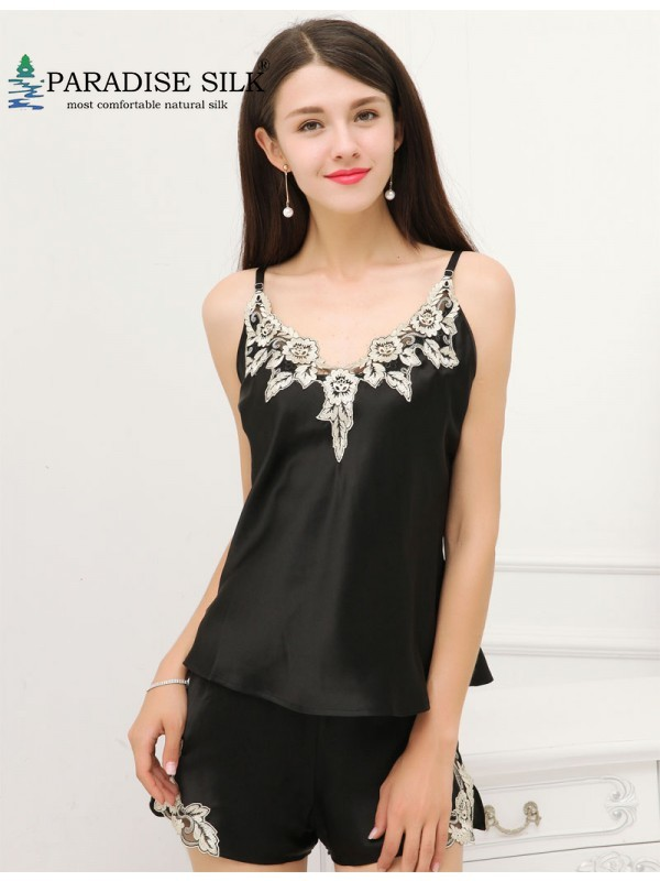 Exquisite Embroidery Sleepingwear 100 Pure Silk Womens Camisole Set Size M L XL