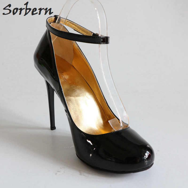 2d6d163112c ... Sorbern 10Cm 12Cm 14Cm Thin Metal High Heels Women Pumps Ankle Straps  Round Toe Sexy Stilettos ...