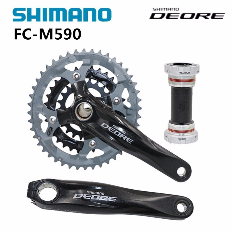 shimano Deore FC M591 44-32-22 170mm MTB Mountain Bike Crankset with BB51 central movement shimano deore fc m610 fc m612 m615 aluminium 3x10 2x10 speed crankset with bb51