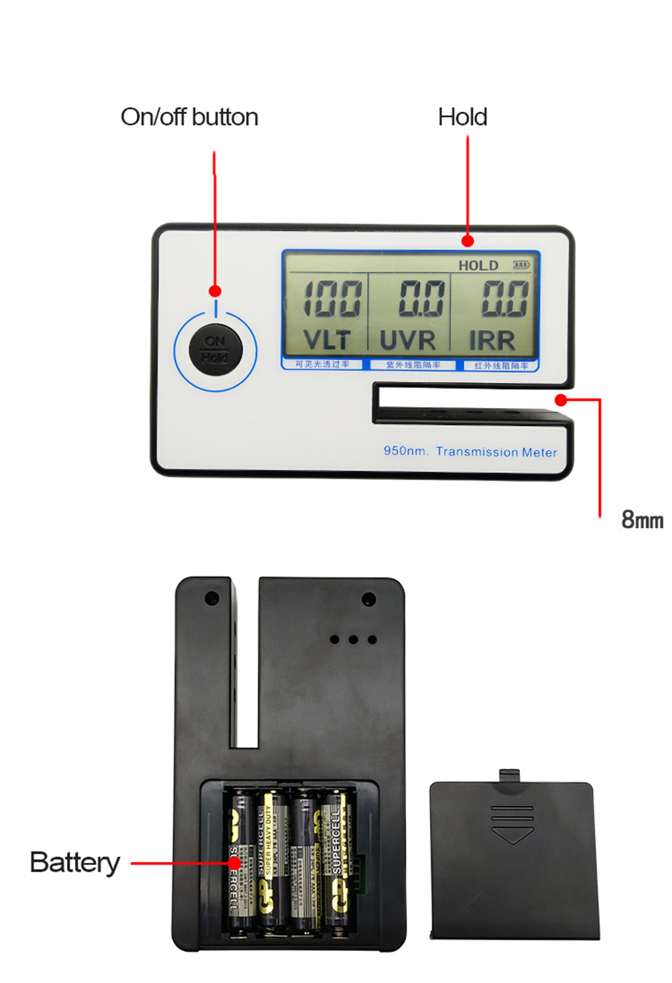 Image 3 - Portable Solar Film Transmission Meter Tester Window Tint Light Transmittance Meter JN 951
