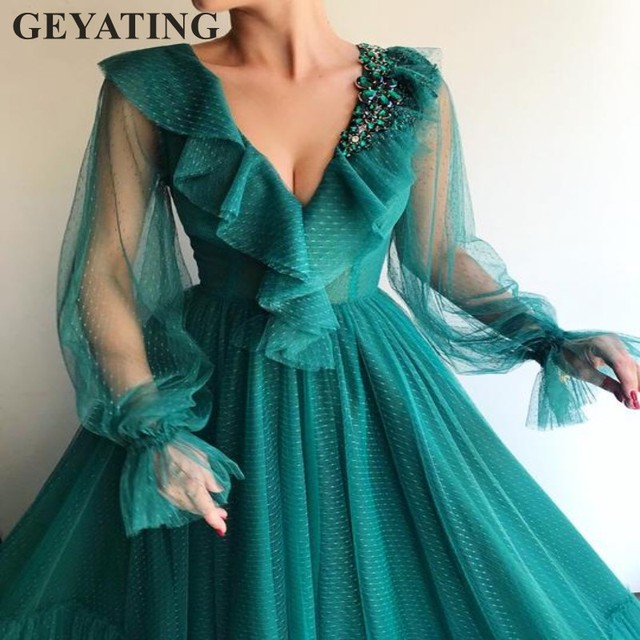 Vintage Hunter Women Evening Gowns With Long Sleeves Dotted Tulle