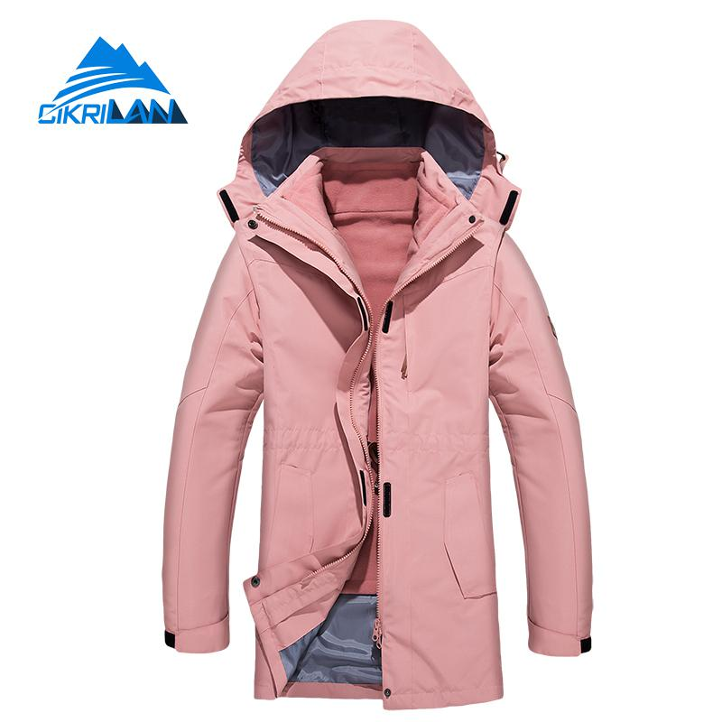 New Womens Winter 3in1 Long Jackets Waterproof Outdoor Camping Hiking Jacket Women Windstopper Skiing Trekking Climbing Coat