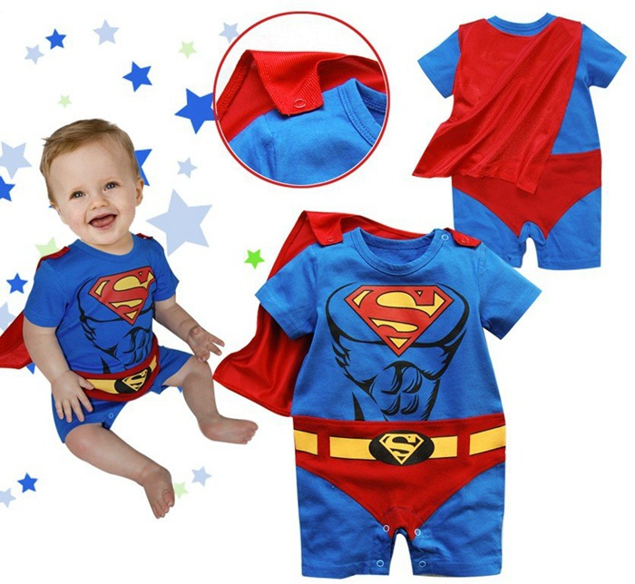 Summer Blue Superman with Cloak Body Baby Boy Romper Clothes Jumpsuit Macacao Ropa Bebe Menino Recem Nascido Infant Clothing summer 2017 navy baby boys rompers infant sailor suit jumpsuit roupas meninos body ropa bebe romper newborn baby boy clothes