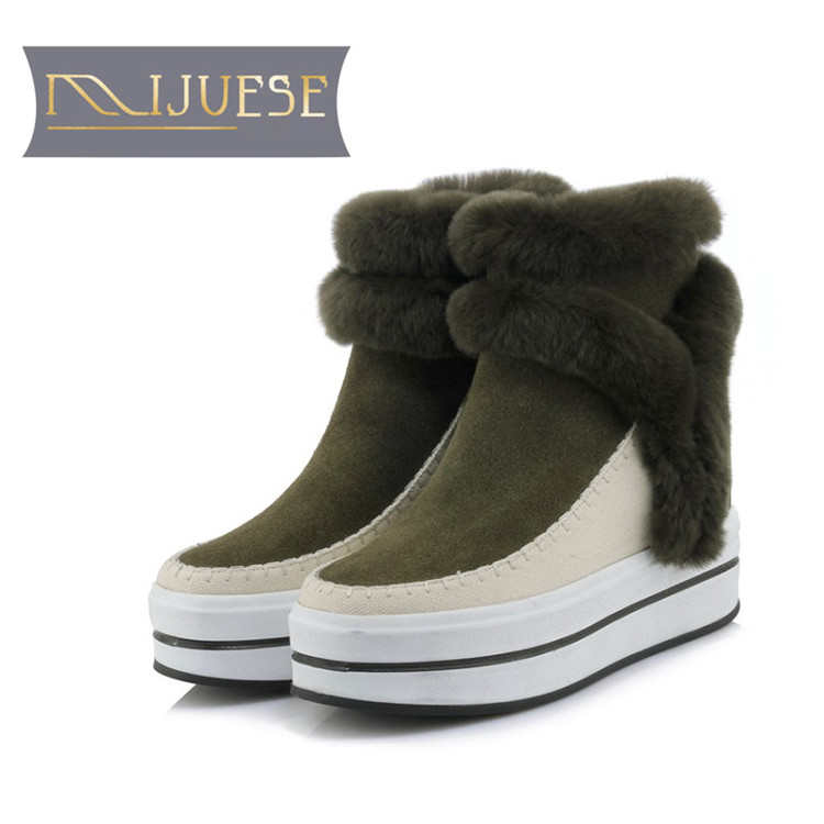все цены на MLJUESE 2019 women Mid-calf boots cow Suede rabbit hair slip on winter warm short plush fur female flat boots snow boots
