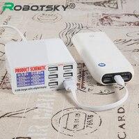 O Robotsky 6 Portas USB de Viagem Carregador de Parede Adaptador 3.5A Max Taxa de Telefone Rápida Display LED para iPhone Samsung iPad