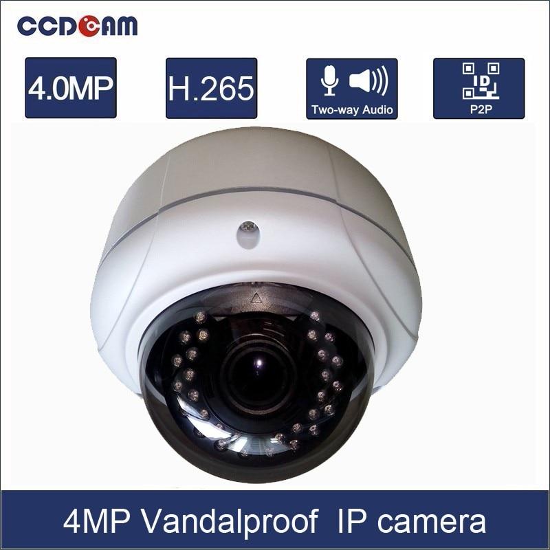 CCDCAM 4MP H.265 IP Camera Outdoor Vandalproof 2.8-12mm Varifocal lens IR Night Vision Onvif P2P CCTV Security Camera