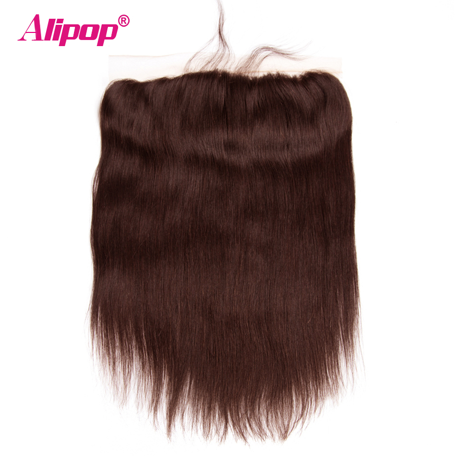 Brazilian Lace Frontal Straight #2 Dark Brown Colored Hair 4*13 Pre Plucked With Baby Ha ...