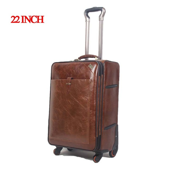 22 INCH Coffee Leather Trolley Luggage Business Trolley Case Men's Suitcase Travel Luggage Bag Rolling Shipping by EMS valise