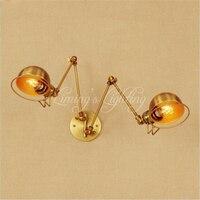 2 Głowy Miedzi Swing Długie Ramię LED Wall Lampie Wandlamp Retro Loft Przemysłowe Edison Kinkiet Kinkiet Rocznika Lampara porównaniu