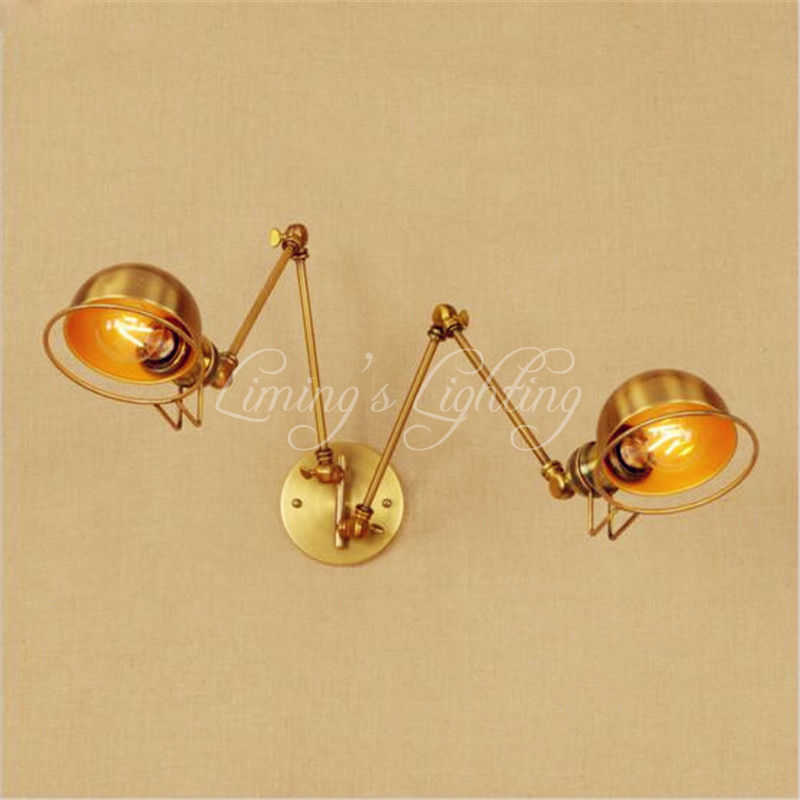 2 Head Copper Swing Long Arm LED Wall Light Fixture Wandlamp Retro Loft Industrial Wall Lamp Vintage Edison Sconce Lampara Pared copper retro loft vintage wall lamp