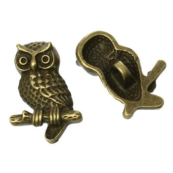 "Zinc metal alloy Shank Button Metal Buttons Owl Antique Bronze Single Hole 22mm( 7/8"")x 15mm( 5/8""),2 PCs"
