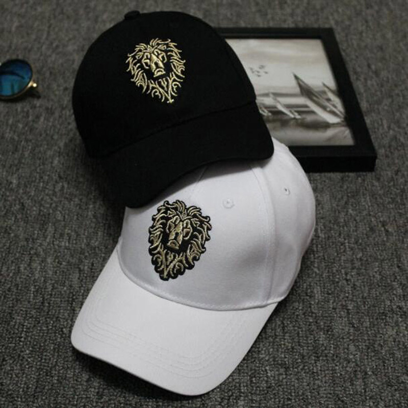 Lion Embroidery Pattern Baseball Cap Women Men Solid Color Cotton Hat Unisex Fashion Casual Adjustable Sunscreen Caps CP0115  (5)