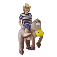 1.5 2m Inflatable Halloween Costumes For Horses Polyester Riding A Horse Costume Inflatable Cowboy On Horse Costume
