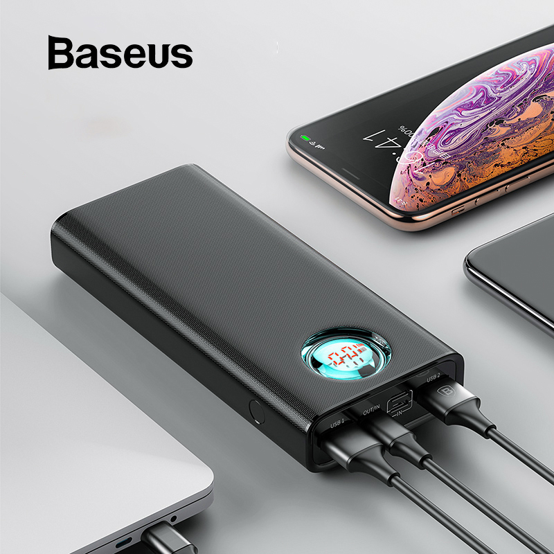 Baseus 20000mAh Power Bank Für iPhone Samsung Huawei Typ C PD Schnelle Lade + Quick Charge 3,0 USB Power externe Batterie