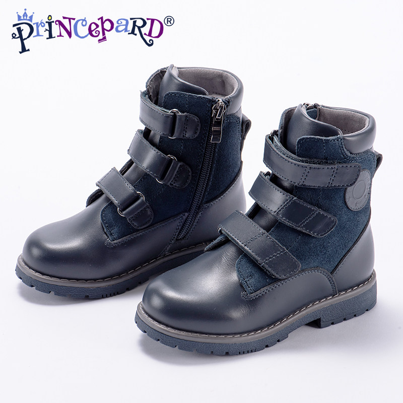 6600beb96f Princepard 2018 specialized high waist orthopedic boots for kids black  fleece lining insoles genuine leather upper