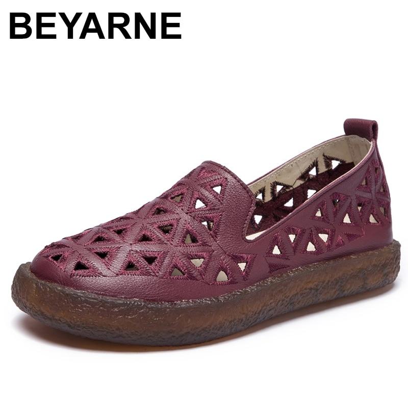 BEYARNE nouvelles femmes mocassins dame chaussures plates femme appartements d'été évider confortable semelle souple en cuir véritable MoccasinsE300