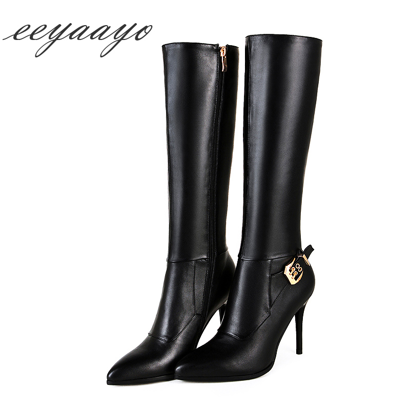 Genuine leather mid-calf spring winter boots women shoes high thin heel cow leather zip elegant sexy boots belt metal buckle hot spring black coffee genuine leather boots women sexy shoes western round toe zipper mid calf soft heel 3cm solid size 36 39 38