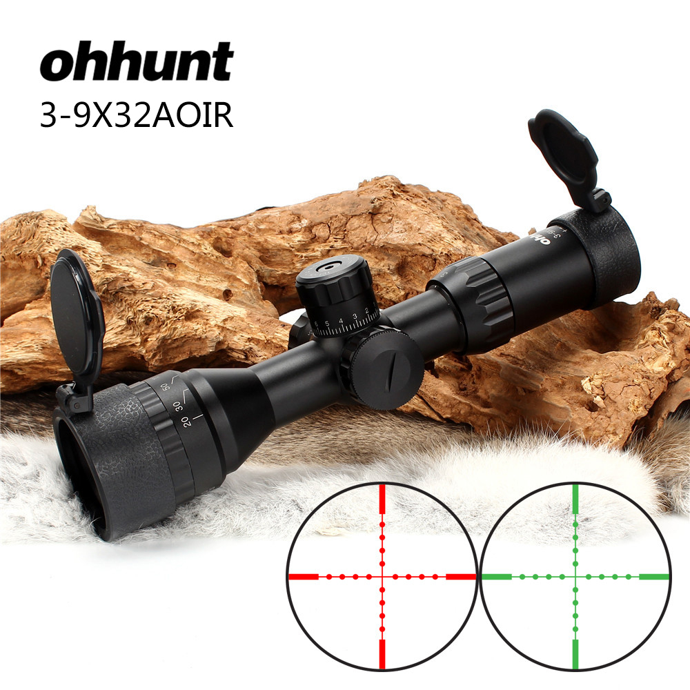 ohhunt 3-9X32 AOIR Full Size Hunting Riflescope Red Green Mil Dot Illuminated Wire Reticle Tactical Optics Sight Rifle Scope tactial rifle scope 3 9x32 1maol mil dot hunting riflescope with sun shade tactical optical sight tube equipment for hunter