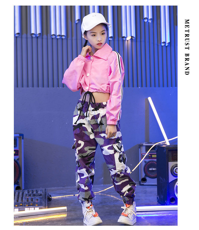 Pink Girls Jazz Dance Costumes Hip Hop Suit Long Sleeve Children Kids Street Dancing Clothes Performance Show Out Clothing (7)
