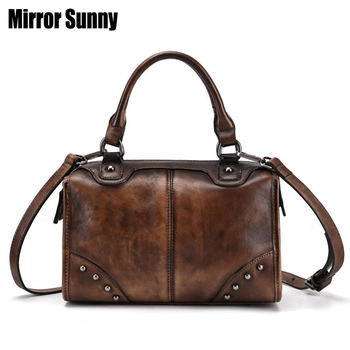 Luxury Genuine Leather Women Handbags Female Retro Elegant Shoulder Messenger Bag Top Layer Cowhide Leather Handmade Women Bags