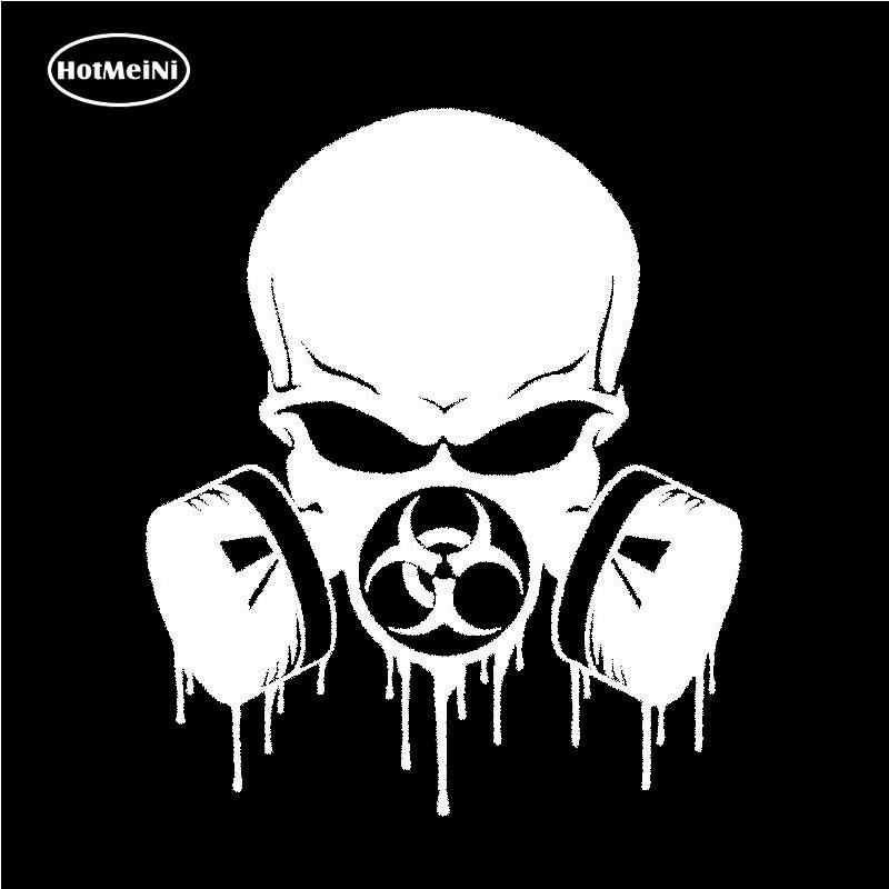 HotMeiNi капельного Biohazard череп респиратор Забавный винил JDM наклейка наклейки для окон автомобиля аксессуары для укладки черный/серебристый 15,3*13 см