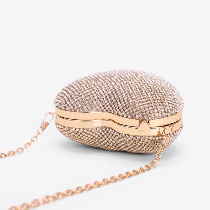 Herz Geformte Volle Diamant Frauen Abend Taschen Kette Schulter Handtasche Tag Kupplungen Abend Taschen Für Party Hochzeit