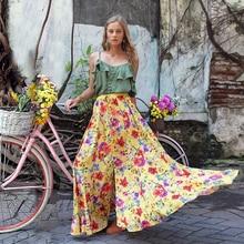 Women Sexy Sleeveless Ruffle Camis Maxi Skirt Two Piece Set Casual Boho Floral Print Chiffon Split Vacation Sundress Outfits navy random floral print camis