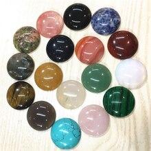 Natürliche Stein Cabochons Runde Perlen 30mm Rosen Quarz Malachit Achate Opal Mode Perlen Für Schmuck Machen Großhandel 12 stücke