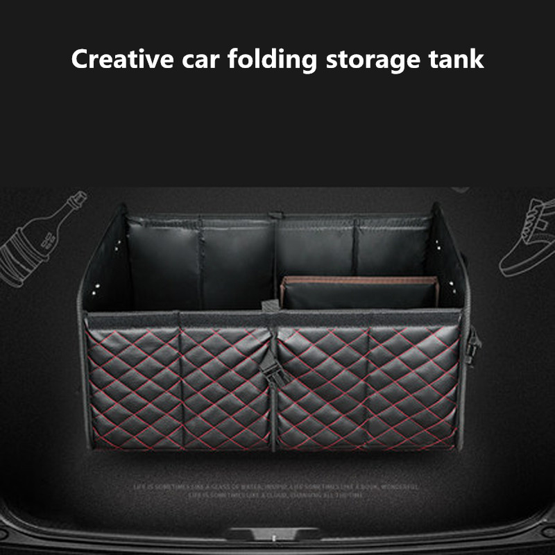 Pu Leather Car Trunk Organizers Waterproof Back Folding