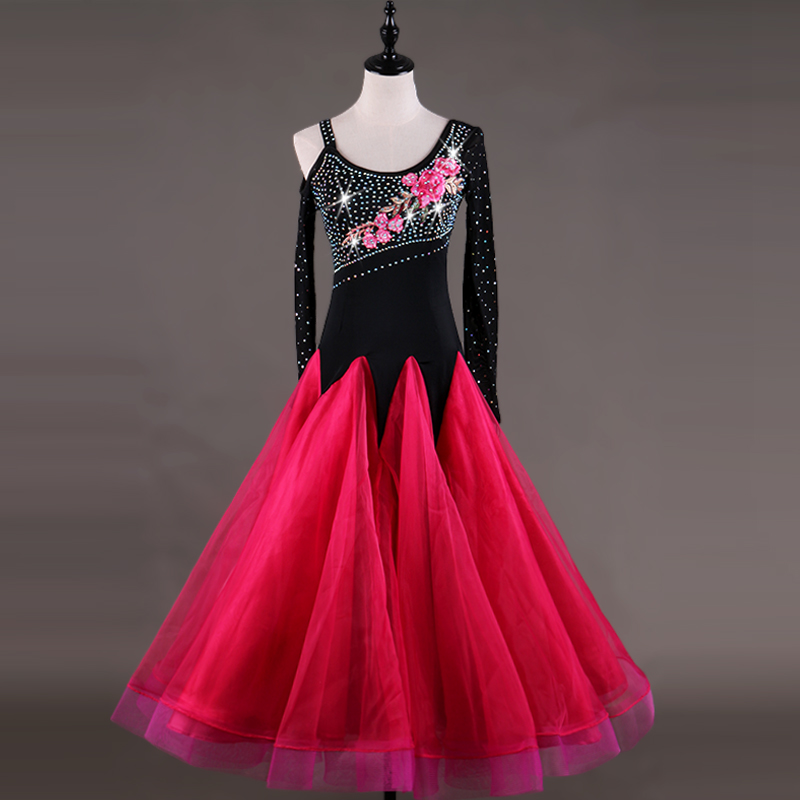 sexy ballroom dresses kids competition standard dance dress waltz flamenco tango green black competition long sleeve ladies q045