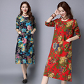 2016 autumn new large size women's Long sleeve literary printing long dress retro robe elegant cotton linen dress casual clothes