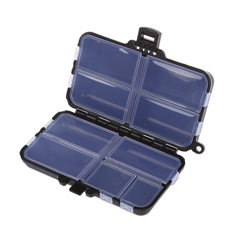 Fishing Tackle Box Fly Fishing Box Spinner Bait Minnow Popper 9 Compartments Black