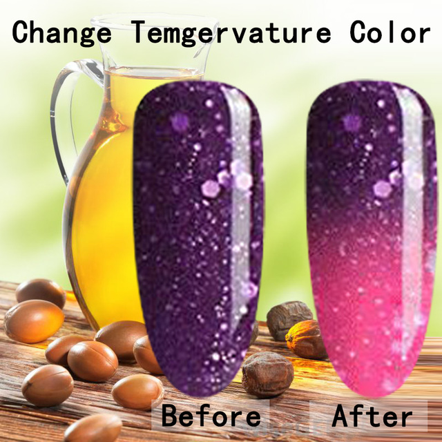 natural pure Healthy brand-Argan oil extracted nail gel polish Temperature Thermal Color Change uv led lamp to cure safe healthy