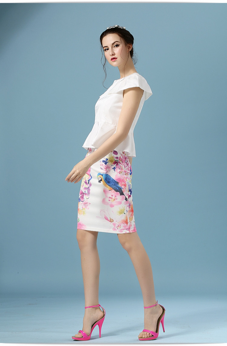 Elegant Office Pencil White Floral Bird Print High Waisted Skirt 12