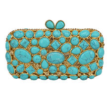 Cobblestone Clutch Bag Women Diamond Evening Bag with Crystal Pochette Purse light green Bling Wedding Party
