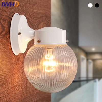 IWHD Aisle Iron Sconce Modern Wall Lamp Balcony Glass Waterproof Luminaire Courtyard Wall Light Fixtures Arandela Para Parede led outdoor wall sconce wall mounted lamp garden porch light bedside lamp balcony sconce aisle light vintage wall sconces