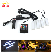 Oobest 2017 New Car Styling RGB Decorative Atmosphere Lamps 12v Car Charge Led Strip Light With