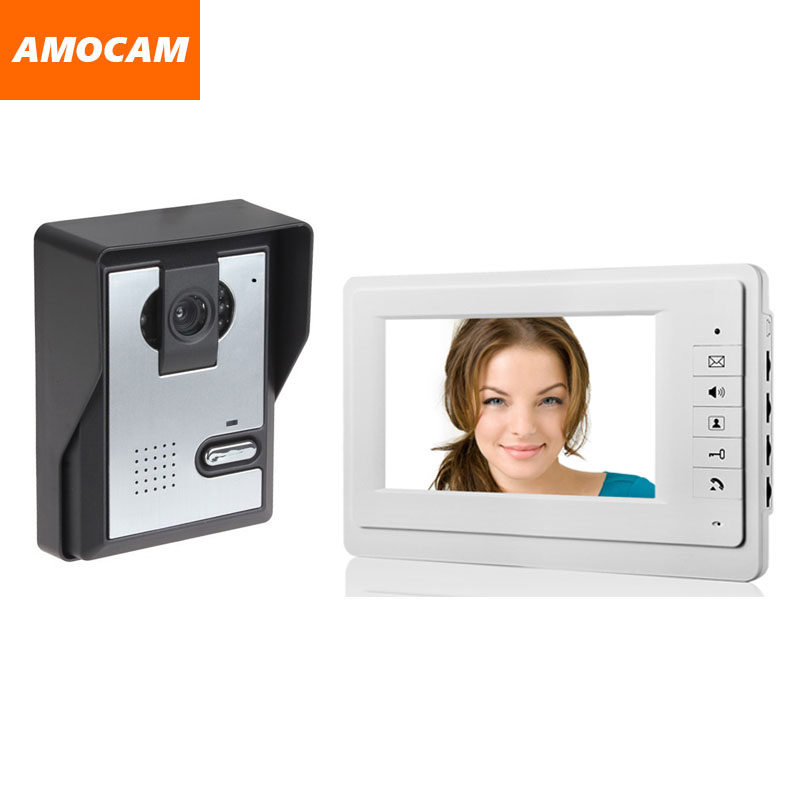 7 Inch Monitor Video Door Phone Intercom Doorbell system visual intercom night vision camera wired Home video intercom system 7 inch color tft lcd wired video door phone home doorbell intercom camera system with 1 camera 1 monitor support night vision