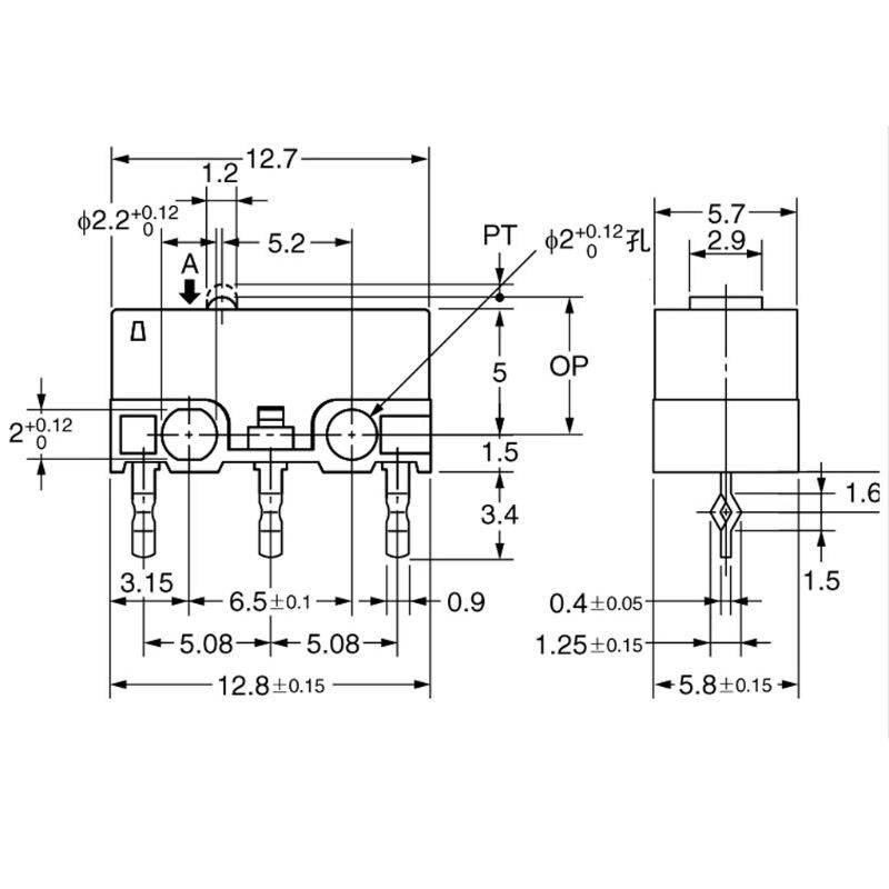2 piezas ratón OMRON Original Micro interruptor D2F-01F-T punto gris para Logitech RAZER 10166