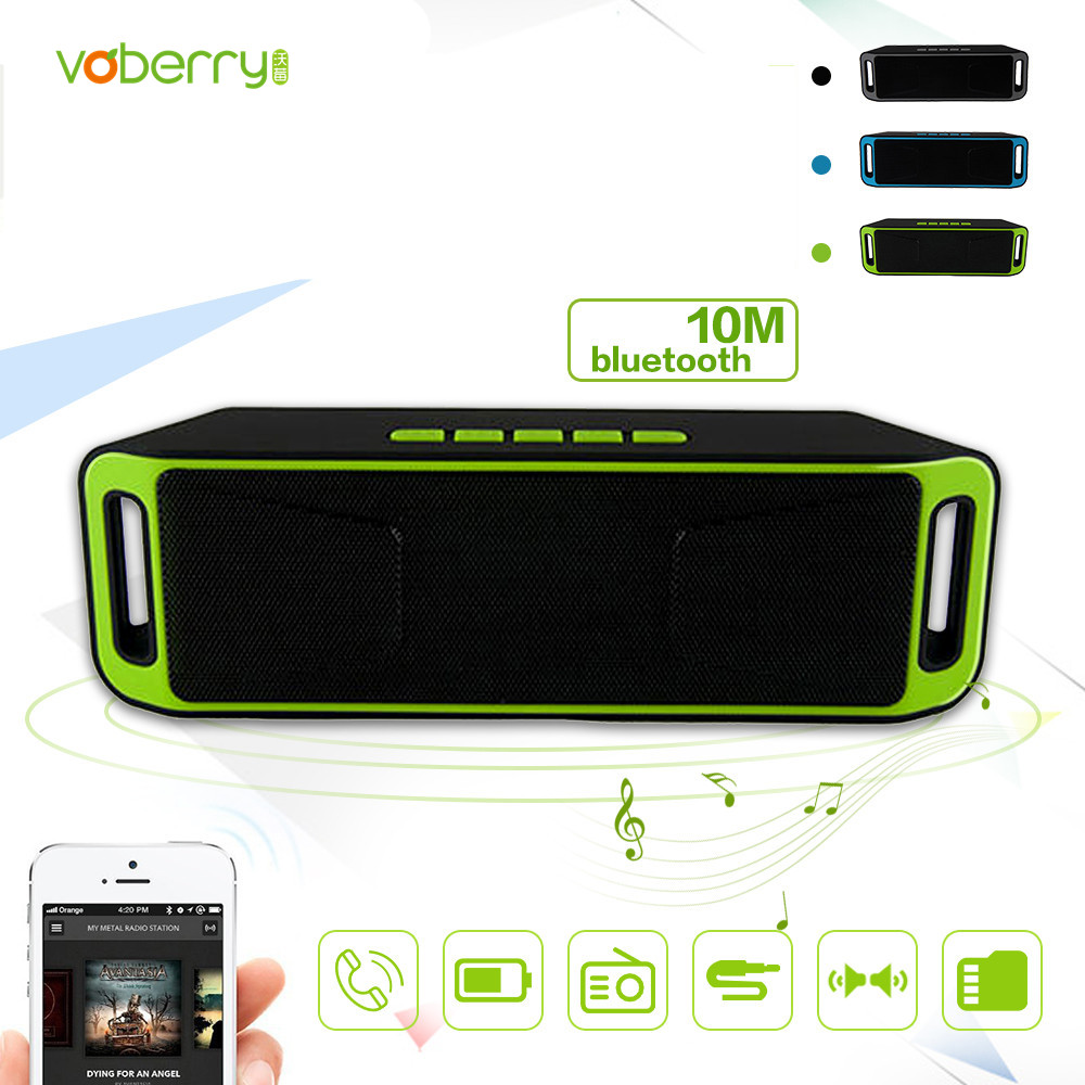 VOBERRY Mini Portable Newest  Wireless  Bluetooth  Stereo Speaker TF USB FM MIC Double Speakers Mega Bass Music Subwoofer portable wireless bluetooth column speaker stereo subwoofer support usb sound box tf fm radio with mic dual bass loudspeaker