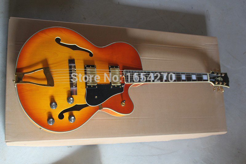 Free shipping new wholesale L-5 custom golden hollow jazz electric guitar pickups big rocker guitar 151112