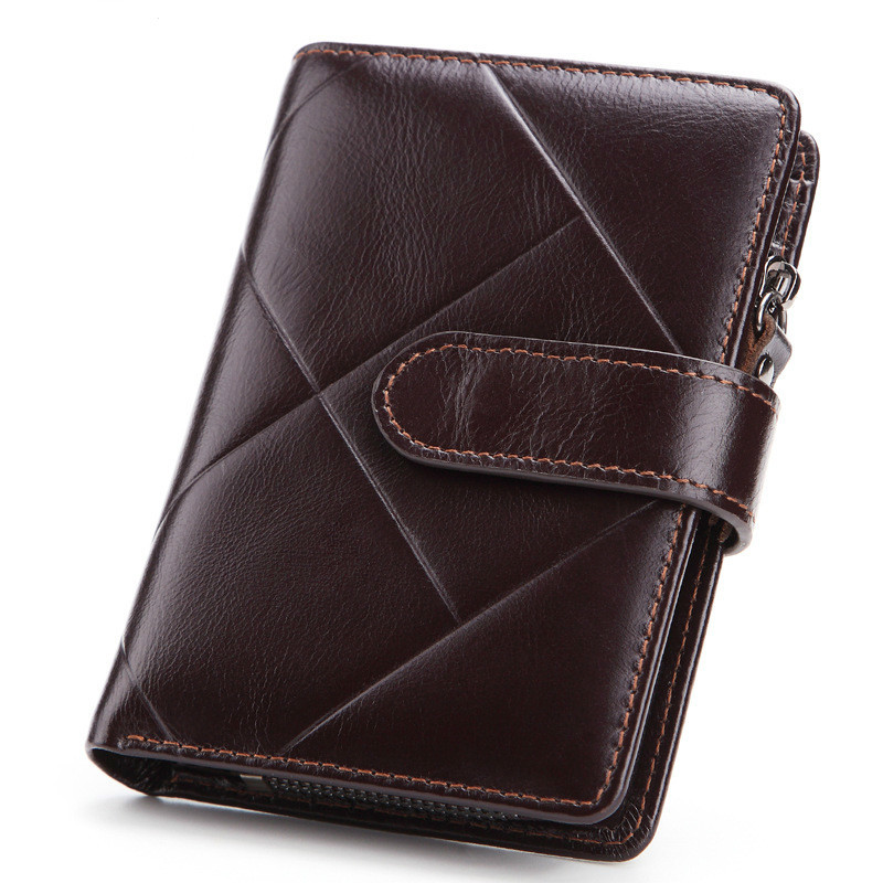 Leather Male Wallet Natural Cowhide Short Men Purse With Zipper Coin Pocket Hasp Leisure Man Hand Clutches Card Holder PR079096 williampolo slim wallet men genuine leather mini wallet women cowhide short wallet purse card holder coin pocket male wallets