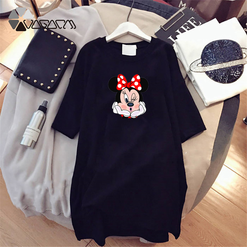 2020 Summer Women Dresses Minnie Cartoon Cartoon Print Casual Loose White Mini Women Clothing Big Size Dress Femme