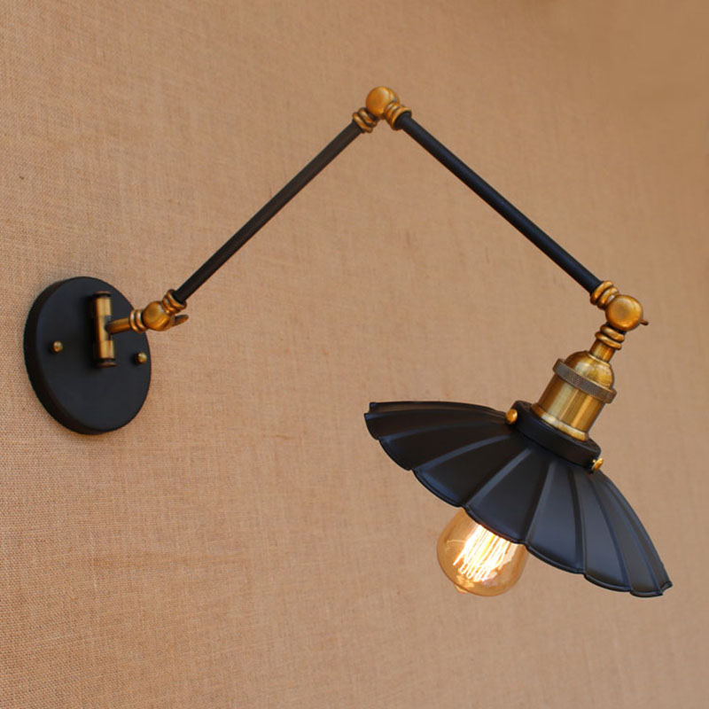 Loft black industrial metal vintage wall lamp sconce with adjustable long swing arm for study room bedside bedroom bar E27 light loft nordic vintage wall lamp classic gold art sconce decorative light adjustable head led 2 swing arm wall lights reading e27
