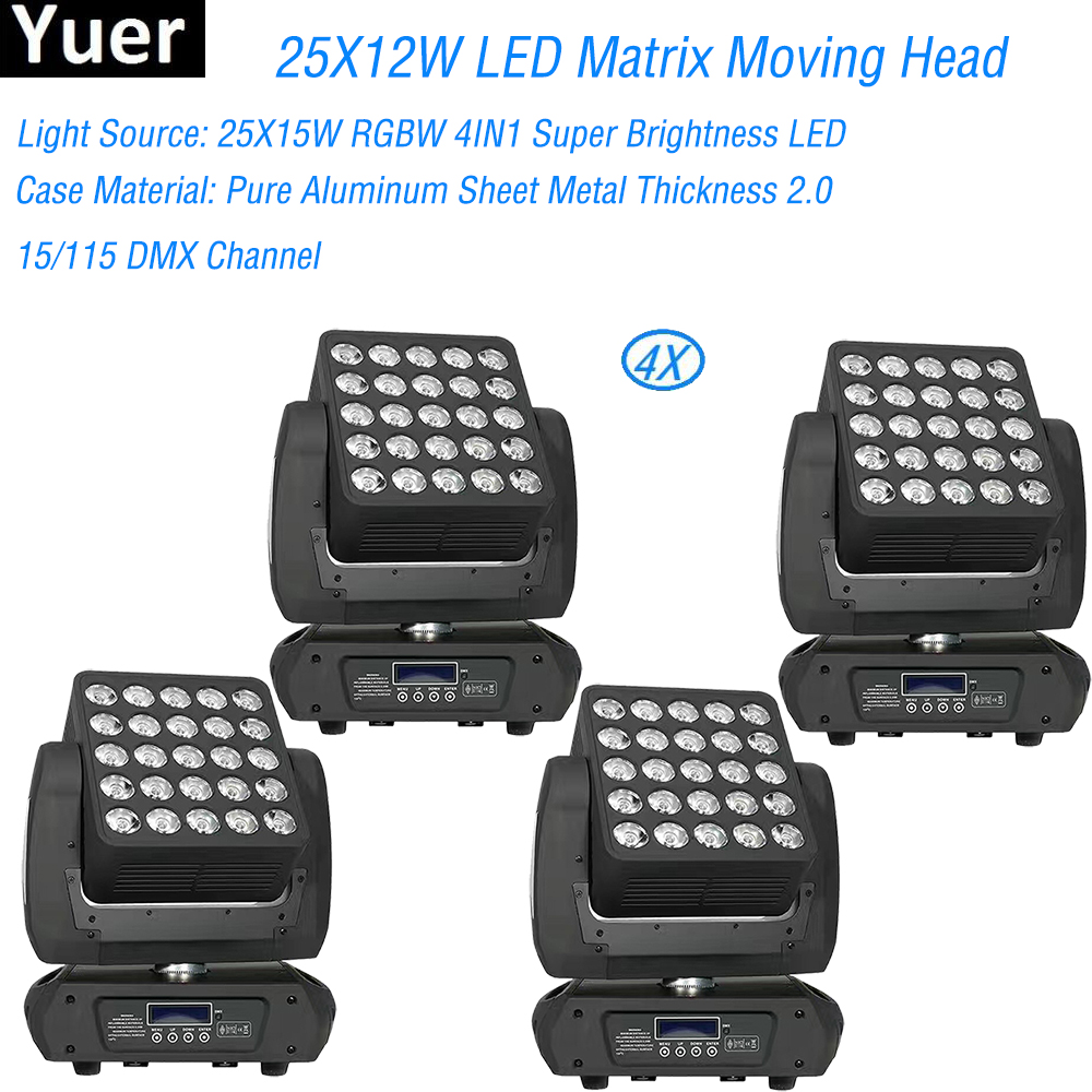 4Pcs/Lot Flightcase Pack 25X12W RGBW 4IN1 Matrix LED Moving Head Stage Light For DJ Disco Party Bar Wedding Flash Stage Lighting4Pcs/Lot Flightcase Pack 25X12W RGBW 4IN1 Matrix LED Moving Head Stage Light For DJ Disco Party Bar Wedding Flash Stage Lighting