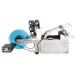 Manual Round Bottle Labeler Labeling Machine With Date Printer Stamp